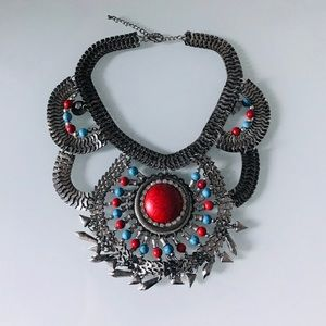 Statement necklace with silver detail